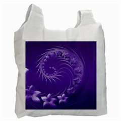 Violet Abstract Flowers Recycle Bag (Two Sides)