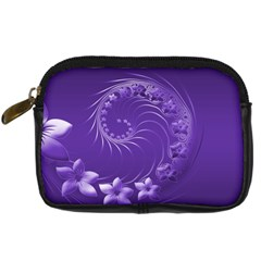 Violet Abstract Flowers Digital Camera Leather Case
