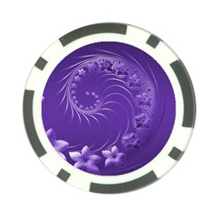 Violet Abstract Flowers Poker Chip 10 Pack
