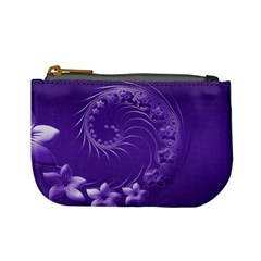 Violet Abstract Flowers Coin Change Purse