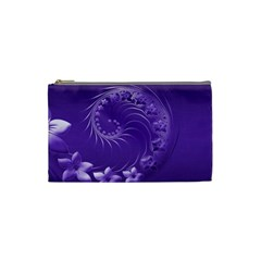Violet Abstract Flowers Cosmetic Bag (Small)