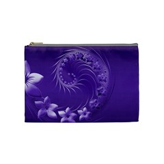 Violet Abstract Flowers Cosmetic Bag (Medium)