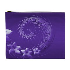 Violet Abstract Flowers Cosmetic Bag (XL)