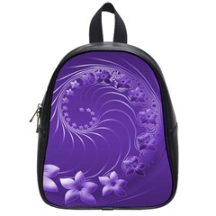 Violet Abstract Flowers School Bag (Small)