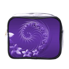 Violet Abstract Flowers Mini Travel Toiletry Bag (one Side)