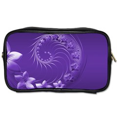 Violet Abstract Flowers Travel Toiletry Bag (Two Sides)