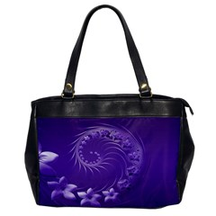 Violet Abstract Flowers Oversize Office Handbag (One Side)