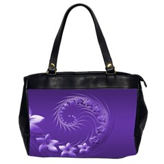 Violet Abstract Flowers Oversize Office Handbag (Two Sides)