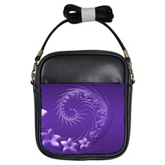 Violet Abstract Flowers Girl s Sling Bag