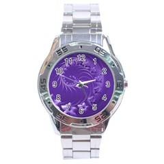 Violet Abstract Flowers Stainless Steel Watch (Men s)