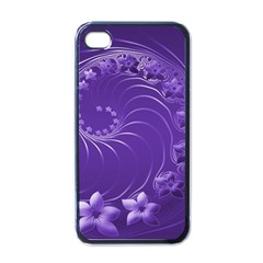Violet Abstract Flowers Apple Iphone 4 Case (black)