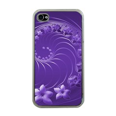 Violet Abstract Flowers Apple iPhone 4 Case (Clear)