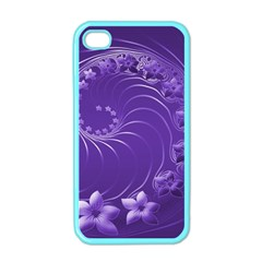 Violet Abstract Flowers Apple iPhone 4 Case (Color)