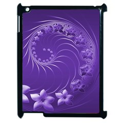 Violet Abstract Flowers Apple iPad 2 Case (Black)