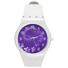 Violet Abstract Flowers Plastic Sport Watch (Medium)