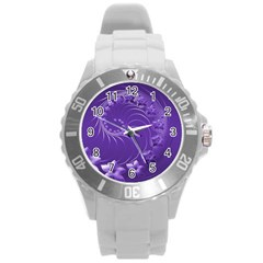 Violet Abstract Flowers Plastic Sport Watch (Large)