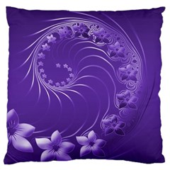 Violet Abstract Flowers Large Cushion Case (one Side)