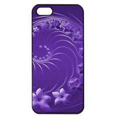 Violet Abstract Flowers Apple iPhone 5 Seamless Case (Black)
