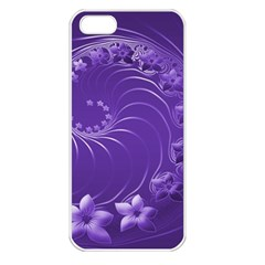 Violet Abstract Flowers Apple iPhone 5 Seamless Case (White)