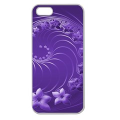 Violet Abstract Flowers Apple Seamless Iphone 5 Case (clear)