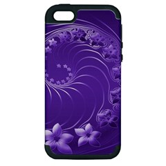 Violet Abstract Flowers Apple iPhone 5 Hardshell Case (PC+Silicone)