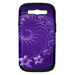 Violet Abstract Flowers Samsung Galaxy S III Hardshell Case (PC+Silicone)