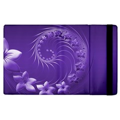 Violet Abstract Flowers Apple Ipad 2 Flip Case