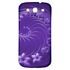 Violet Abstract Flowers Samsung Galaxy S3 S III Classic Hardshell Back Case