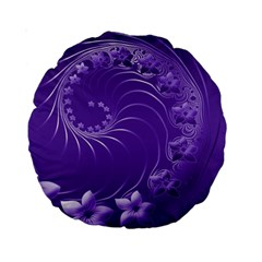 Violet Abstract Flowers 15  Premium Round Cushion