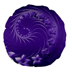 Violet Abstract Flowers 18  Premium Round Cushion