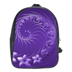 Violet Abstract Flowers School Bag (XL)