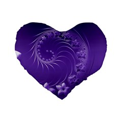 Violet Abstract Flowers 16  Premium Heart Shape Cushion