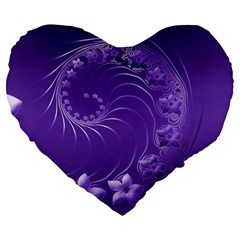 Violet Abstract Flowers 19  Premium Heart Shape Cushion