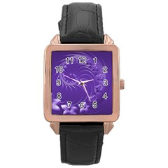 Violet Abstract Flowers Rose Gold Leather Watch