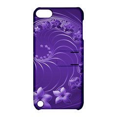 Violet Abstract Flowers Apple Ipod Touch 5 Hardshell Case With Stand