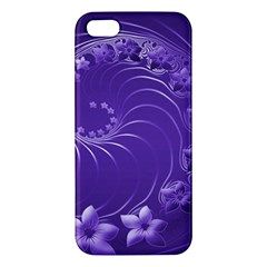 Violet Abstract Flowers iPhone 5 Premium Hardshell Case