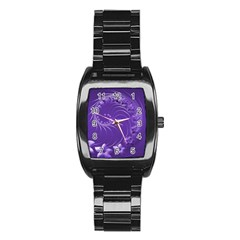 Violet Abstract Flowers Men s Stainless Steel Barrel Analog Watch