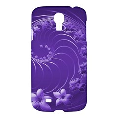 Violet Abstract Flowers Samsung Galaxy S4 I9500 Hardshell Case