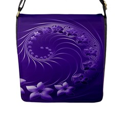 Violet Abstract Flowers Flap Closure Messenger Bag (large)