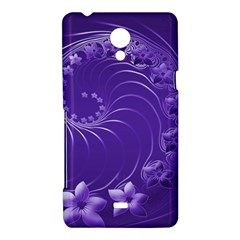Violet Abstract Flowers Sony Xperia T Hardshell Case