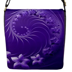 Violet Abstract Flowers Flap Closure Messenger Bag (small)