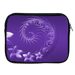 Violet Abstract Flowers Apple iPad 2/3/4 Zipper Case