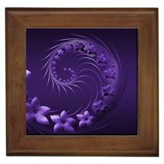 Dark Violet Abstract Flowers Framed Ceramic Tile