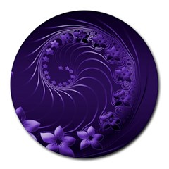 Dark Violet Abstract Flowers 8  Mouse Pad (Round)