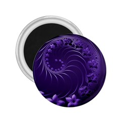 Dark Violet Abstract Flowers 2.25  Button Magnet