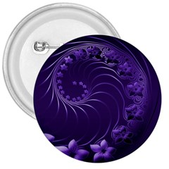 Dark Violet Abstract Flowers 3  Button
