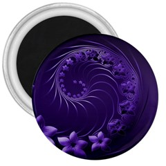 Dark Violet Abstract Flowers 3  Button Magnet