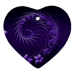Dark Violet Abstract Flowers Heart Ornament