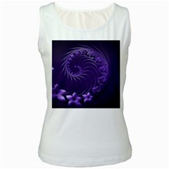 Dark Violet Abstract Flowers Womens  Tank Top (White)