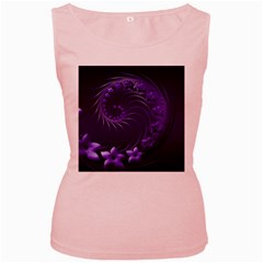 Dark Violet Abstract Flowers Womens  Tank Top (pink)